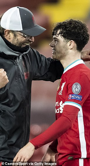 Klopp embraces Nico Williams after the match