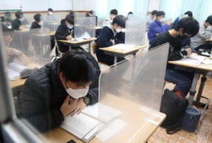 Students are ready to take the college entrance examination at a high school on Jeju Island, South Korea.