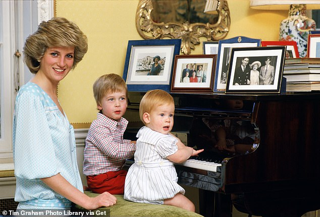 The Princess of Wales with her two sons, Prince William and Prince Harry, at the piano at Kensington Palace during the 1985 photo shoot