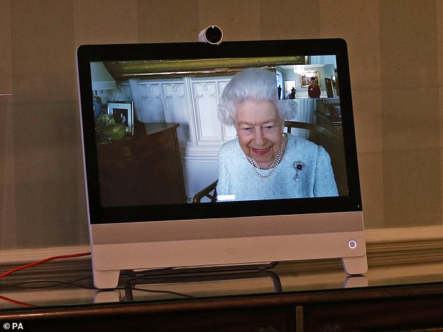 The Queen (pictured) held her first virtual diplomatic encounter today, after she received foreign ambassadors at Buckingham Palace via a video call from Windsor Castle.