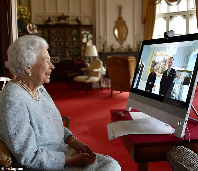 A photo of the Queen at Windsor Castle during a video call with the foreign ambassadors at Buckingham Palace