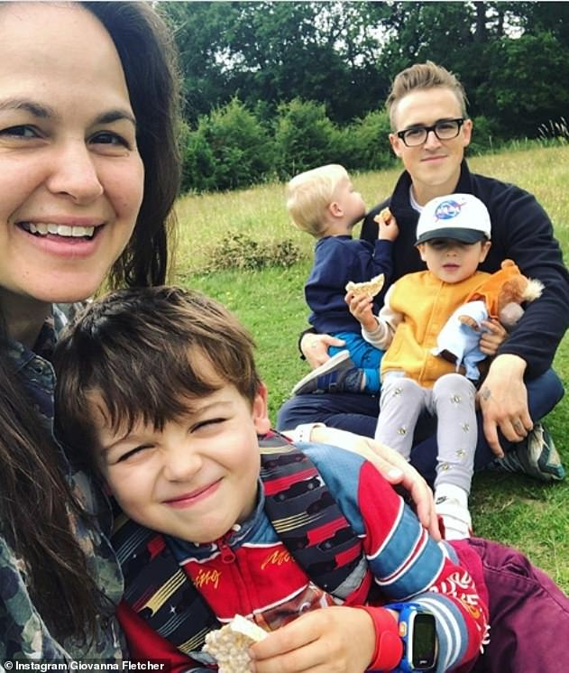 Family: It comes after Giovanna said she felt as though she had proven mothers are 'strong' and can 'do anything' after winning I'm A Celebrity 2020 (pictured with her sons and Tom)