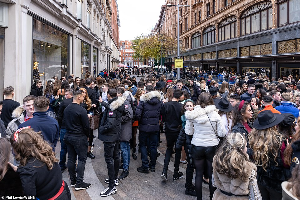 Chaotic scenes ensued as the large group tried to enter Harrods and crowded together in the streets around Harrods and Harvey Nichols.
