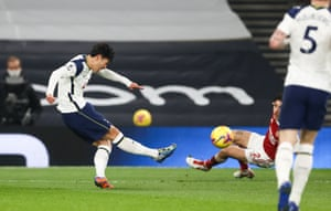 The son scores from outside the penalty area