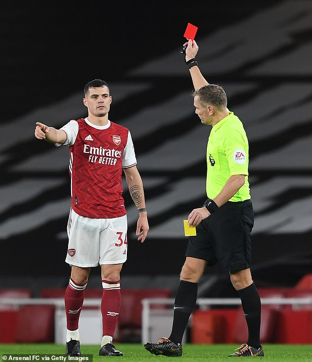 Arsenal midfielder Granit Xhaka was sent off for snatching Ashley Westwood by the throat as Arsenal lost 1-0 to Burnley on Sunday evening.