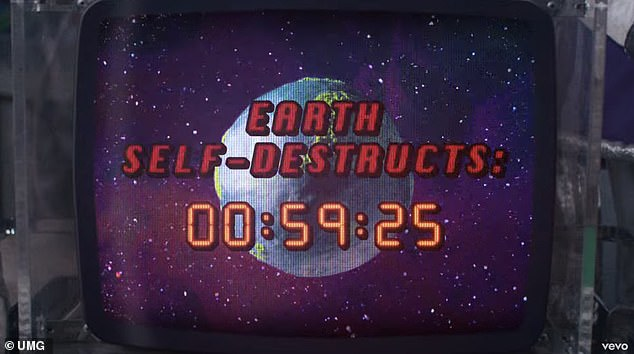 There is even a countdown timer: the clock says Earth will destroy itself within an hour