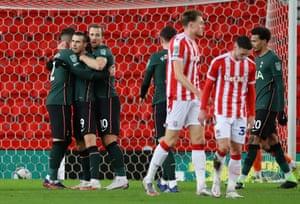 Bale celebrates scoring a goal for Tottenham.