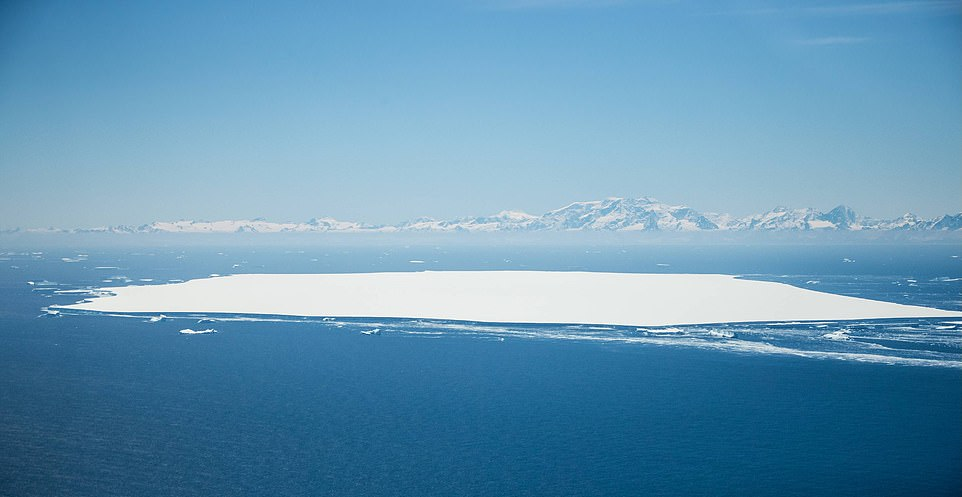 Pictured is A68d north of the main iceberg, and in the background is an endangered island in South Georgia