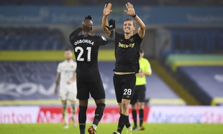 Angelo Ojbona celebrated with team-mate Thomas Sochik as West Ham's top scorer scored the victory in Leeds.