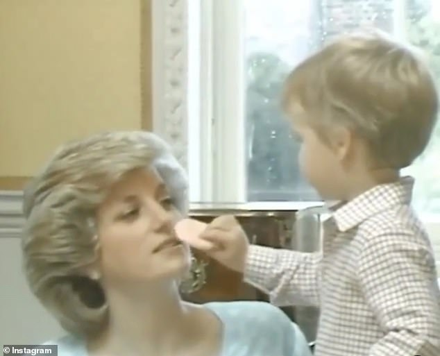 A gorgeous clip that was spotted shows three-year-old Prince William helping his mother, Princess Diana, to put her makeup back on during a family photo shoot in 1985 (pictured)