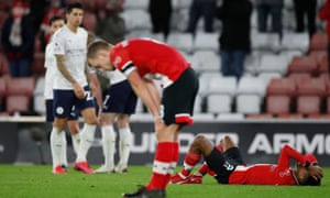 Southampton's Kyle Walker Peters responds to the final whistle.