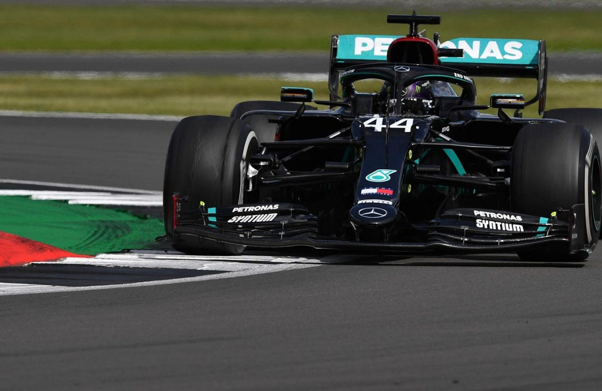 Hamilton wins the British Grand Prix, even though he finishes the race on three wheels!