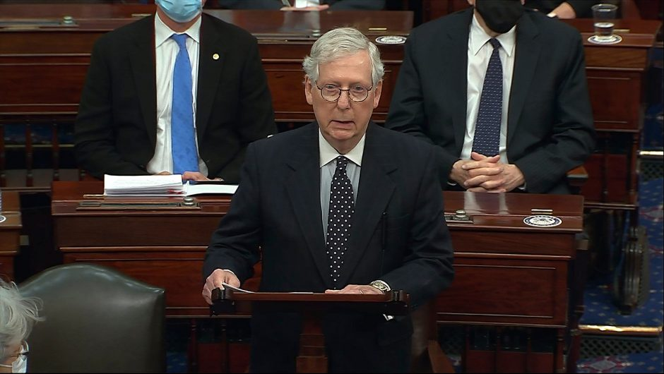 "Republican leader Mitch McConnell officially condemns Trump's actions.  ""Provocative attack on the Capitol"" 