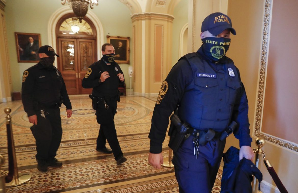 Riots in the United States.  A policeman was injured in the Capitol