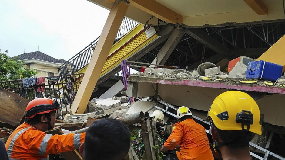 Tragic earthquake in Indonesia.  Patients are trapped under a collapsed hospital