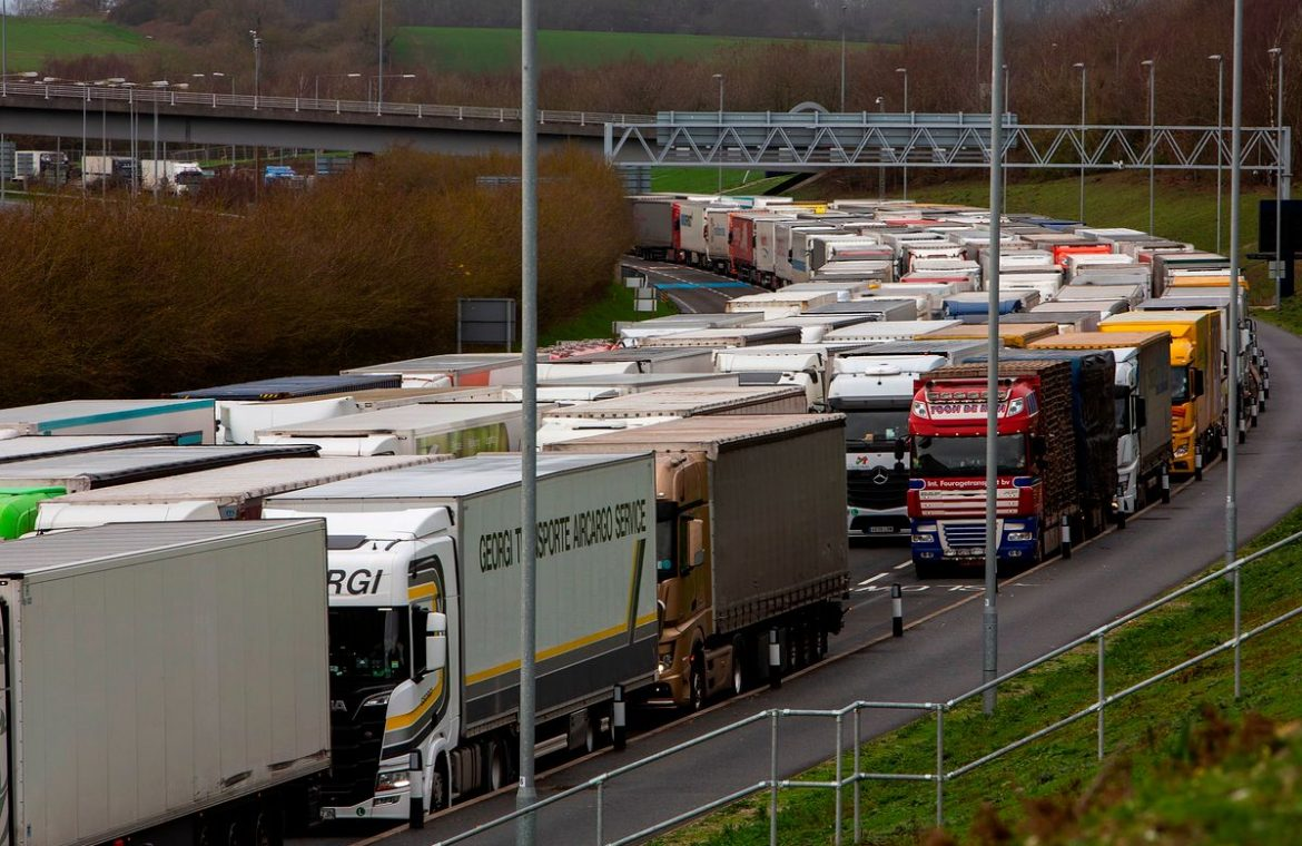 Trucks parked in Great Britain.  Drivers will participate in Operation Stack
