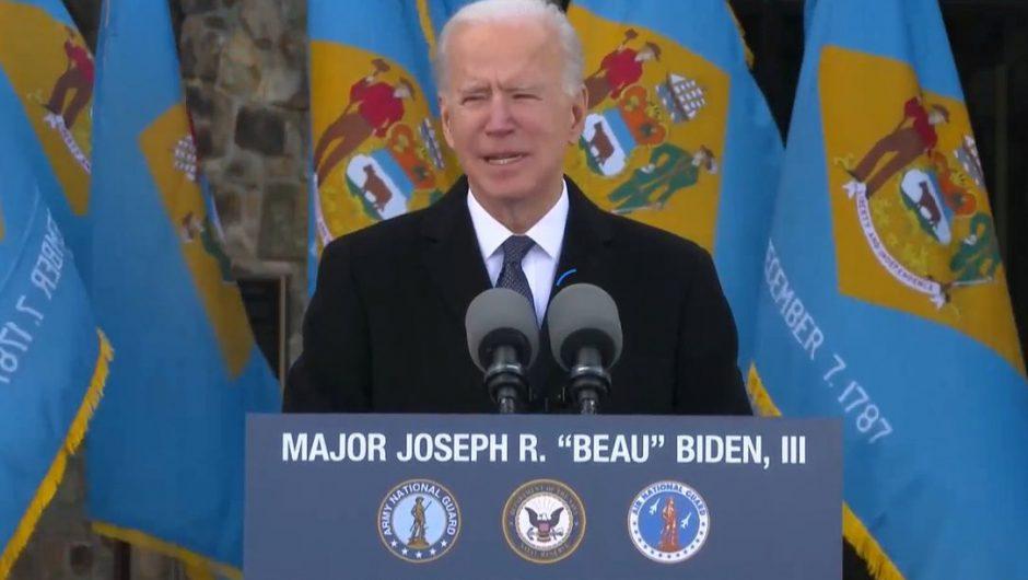 United States of America.  Joe Biden spoke in his state before leaving for Washington