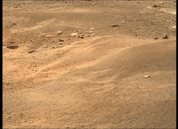 The image was captured by the rover while on Mars
