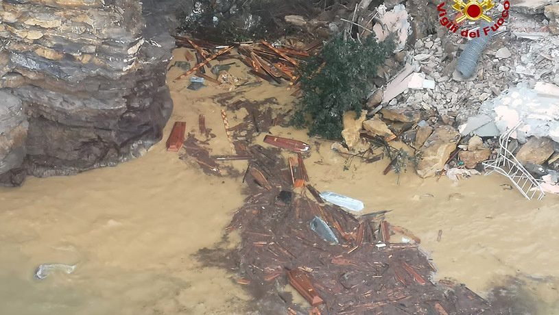 Italy.  At Camogli near Portofino, part of the cemetery collapsed into the sea.  And 200 coffins fell off the cliff