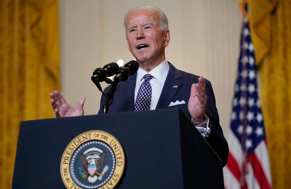 "Joe Biden announces the cooperation of the United States of America with Europe.  ""Welcome back to America!""  