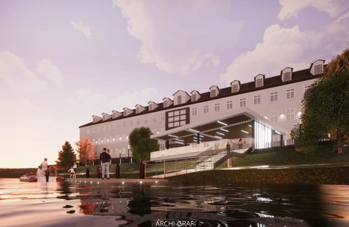 Pedestrian area, restaurant and boat dock.  The county office turns to face the river [WIZUALIZACJE]