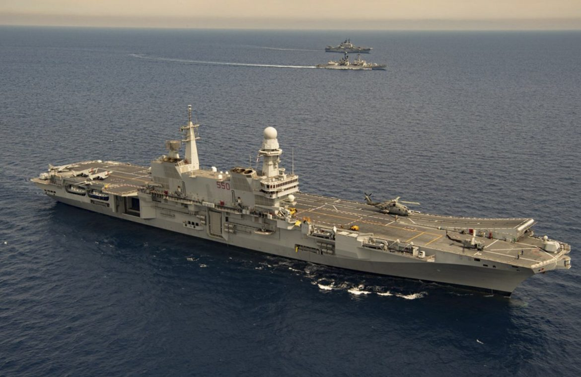 The Italian aircraft carrier sails to the United States