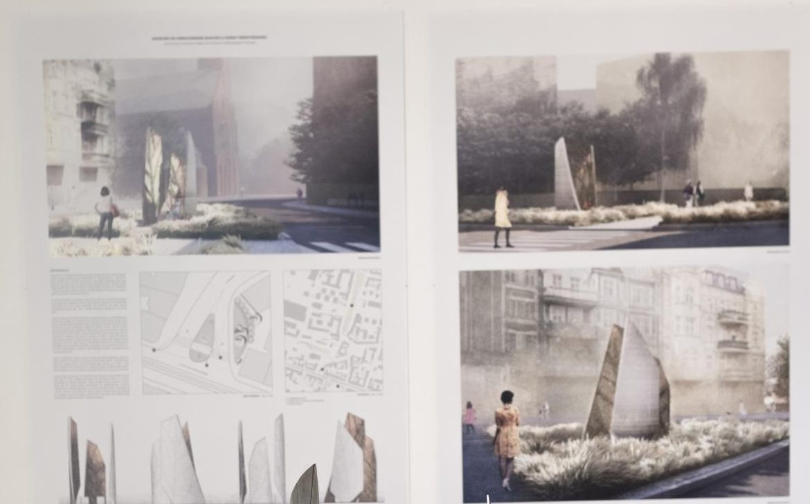 It shows what the space might look like at the intersection of Kościelna and Dąbrowskiego Streets in the future