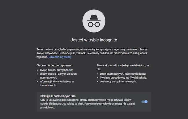 Start page for incognito mode in Google Chrome, Image: Oskar Ziomek.