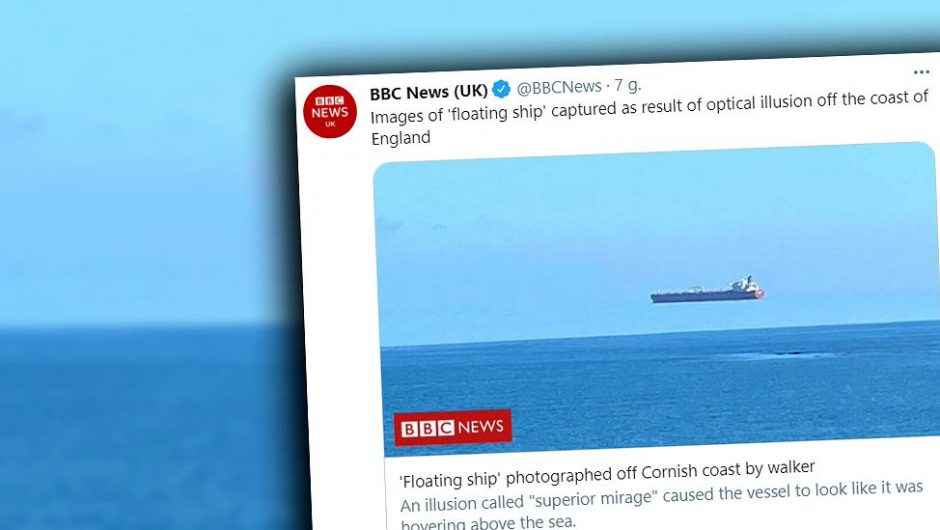"Great Britain.  A ""raised"" ship.  An unusual phenomenon was captured off the coast of Cornwall"