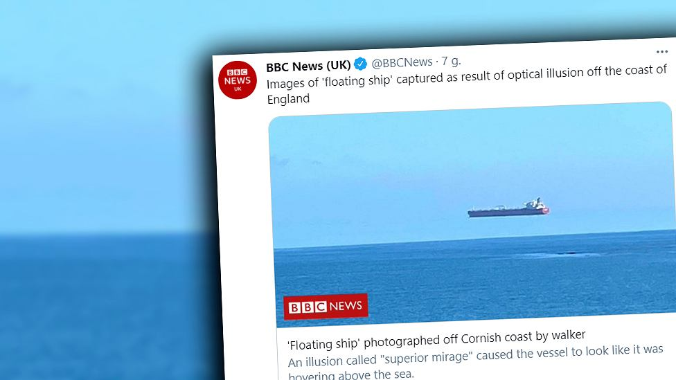 """Great Britain.  A """"raised"""" ship.  An unusual phenomenon was captured off the coast of Cornwall"""