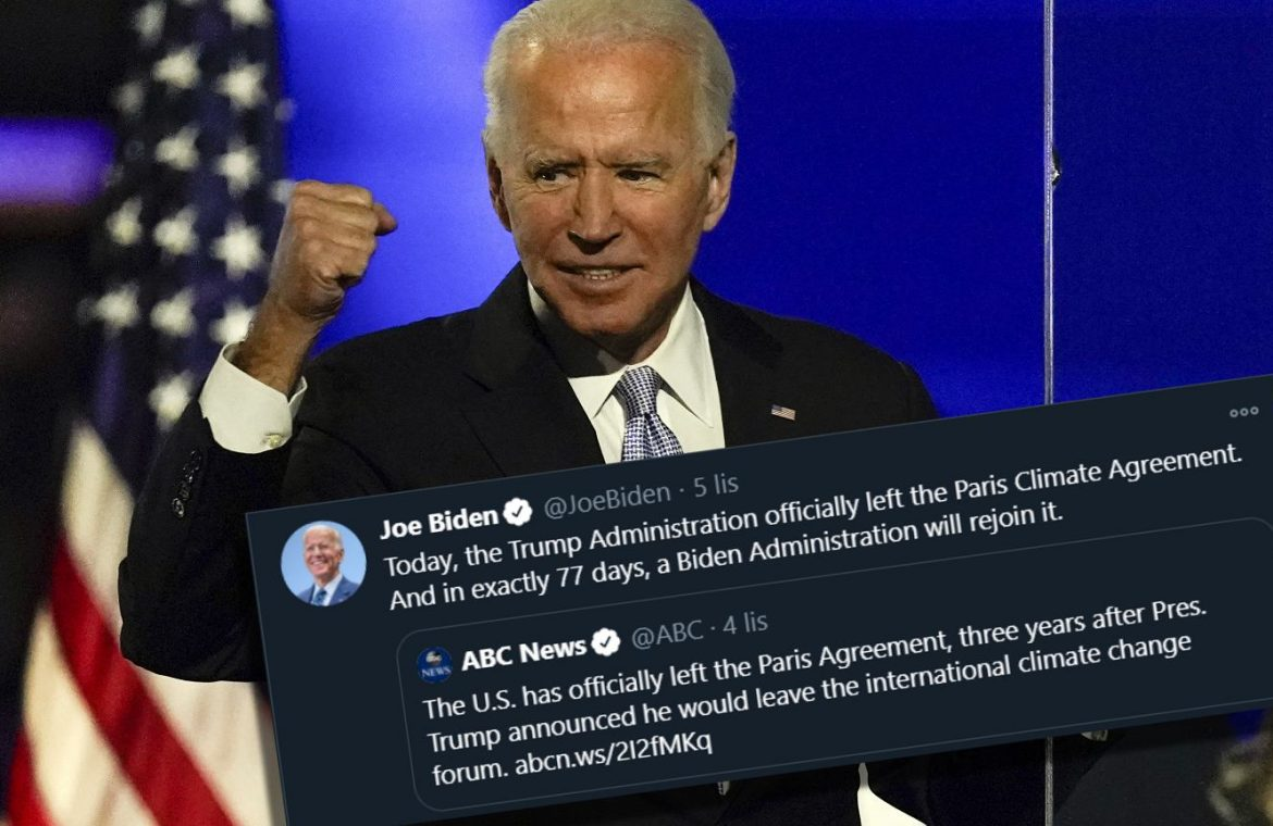 Joe Biden wins the US election.  The president-elect announces a return to the Paris Agreement
