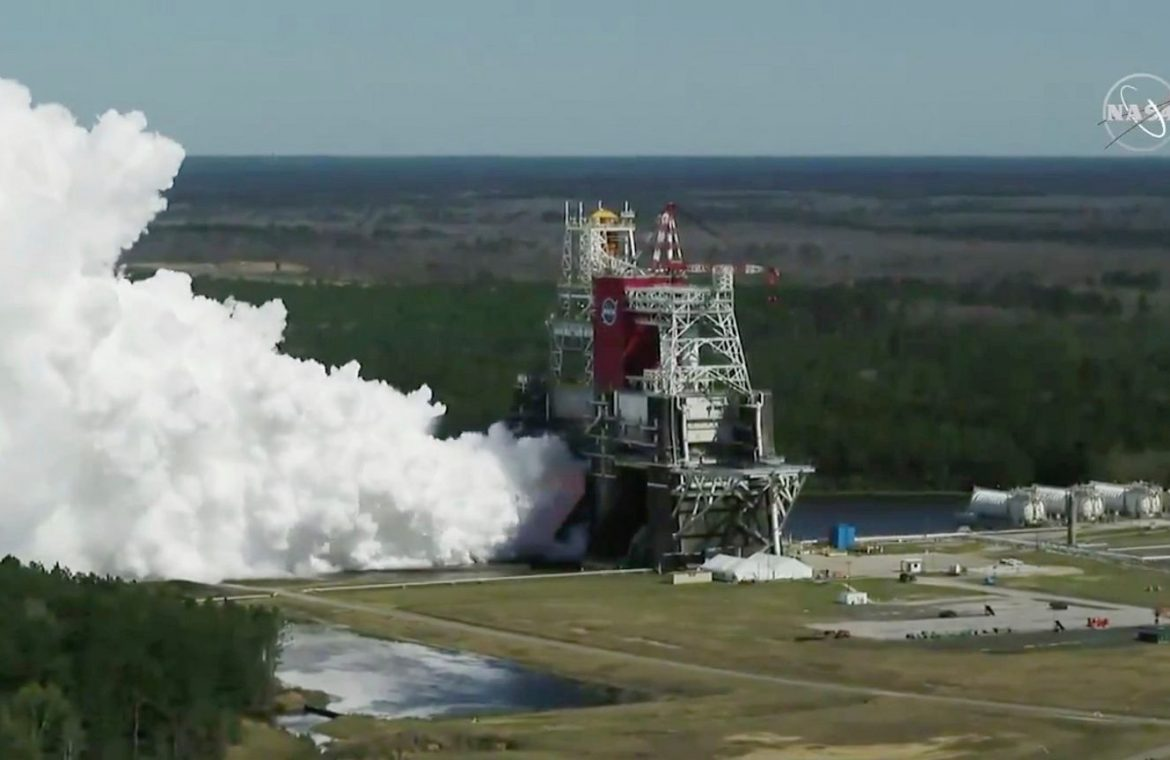 NASA conducted a pivotal test of the powerful SLS missile.  They are supposed to take people to the moon