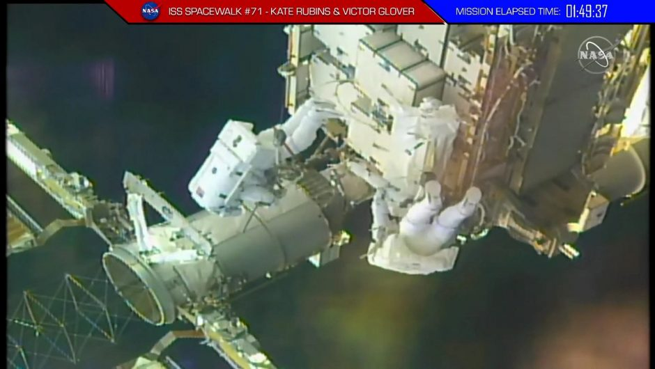 The astronauts left the International Space Station for a walk.  NASA showed it live