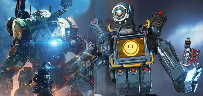 Titanfall at Apex Legends.  The player has summoned Titan to the royal battlefield