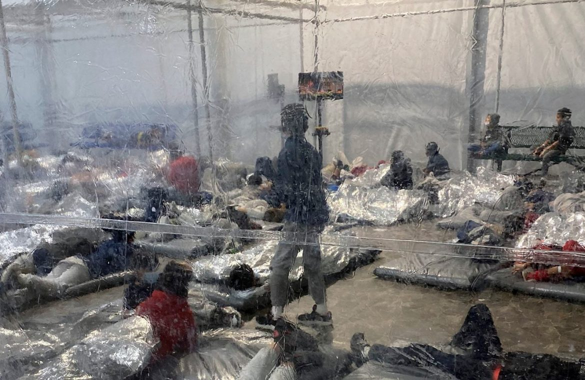 United States of America.  A catastrophic situation in the Texas Migrant Center  People crowded the mattresses  world News