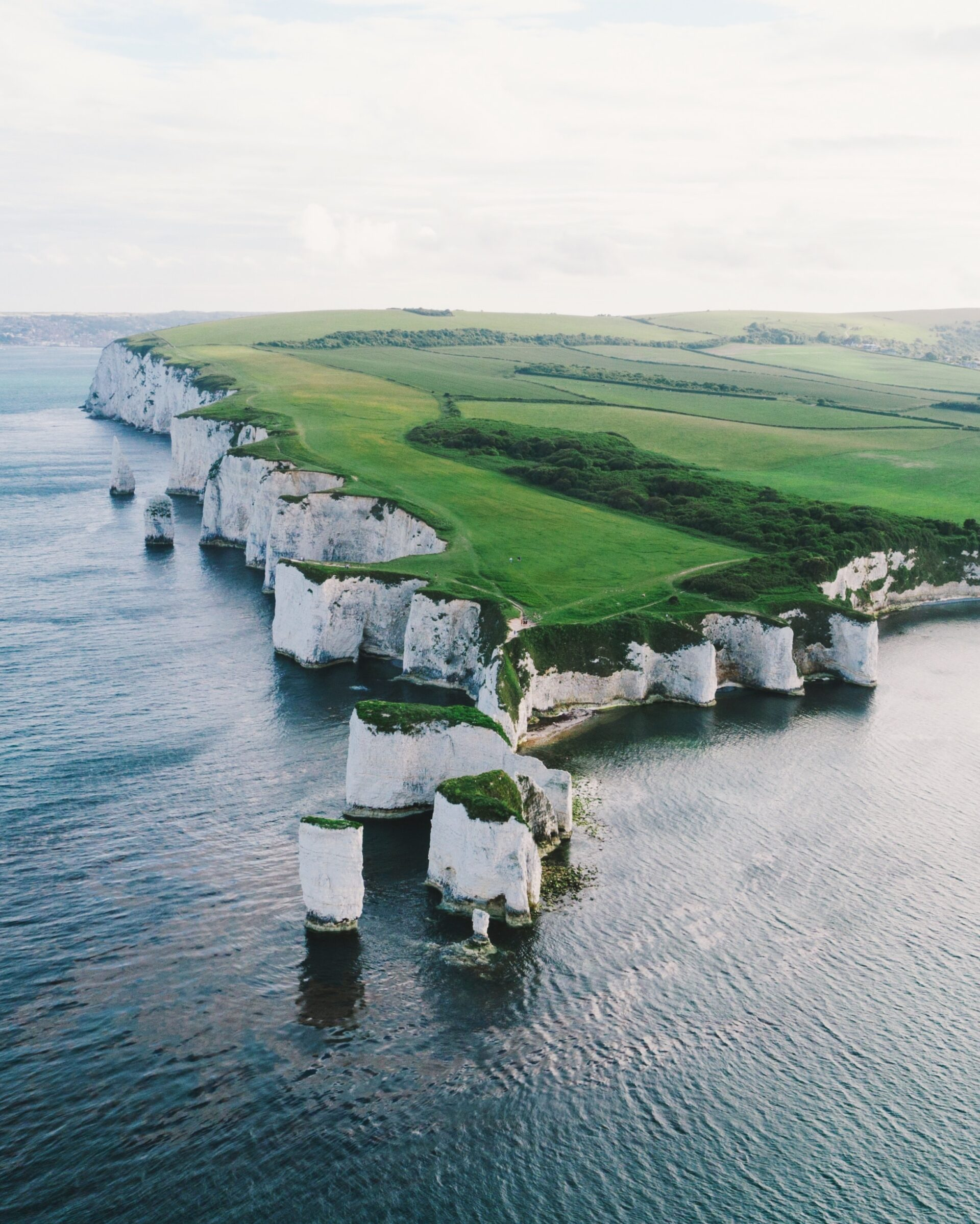 Cliffs at sea as seen from a drone