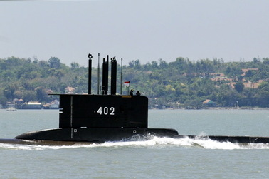 The submarine is missing.  Soldiers found an oil slick in the sea