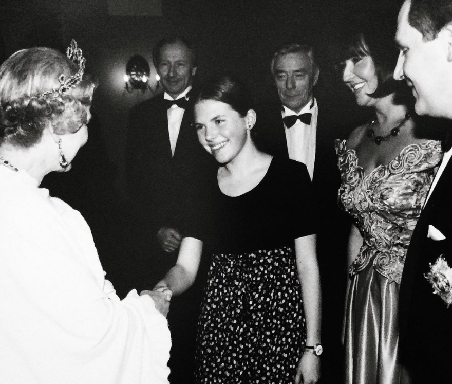 Alexandra Kouanevska showed off a photo with Queen Elizabeth II