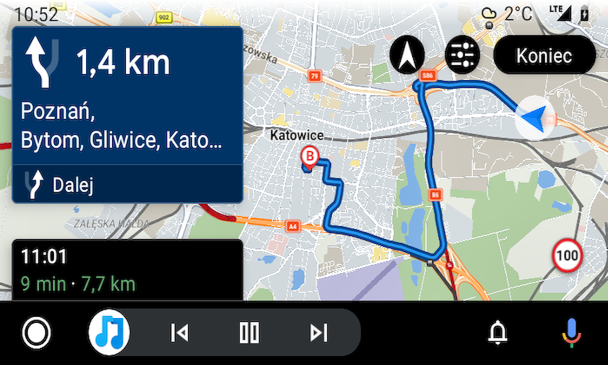 Sygic in Android Auto, Image by Oskar Ziomek.