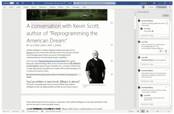 View New Commentary in Word, Image: Microsoft.