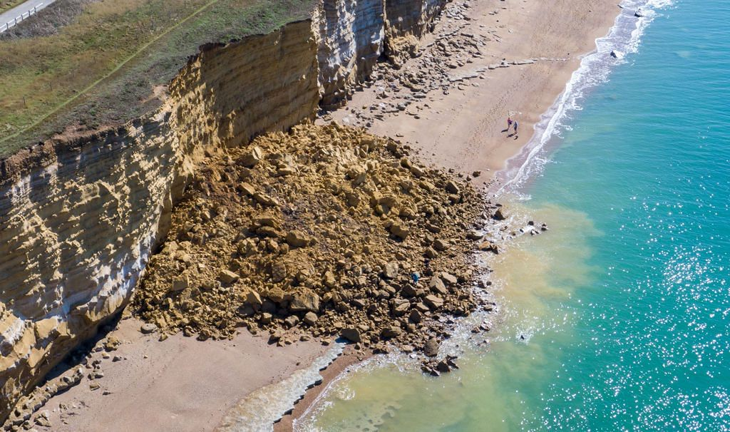United kingdom.  A 300 meter cliff collapsed in Dorset
