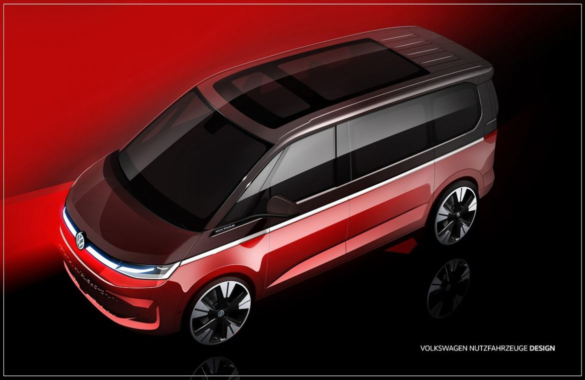 Volkswagen offered the T7 Multivan sketches.  The premiere is already in mid-June