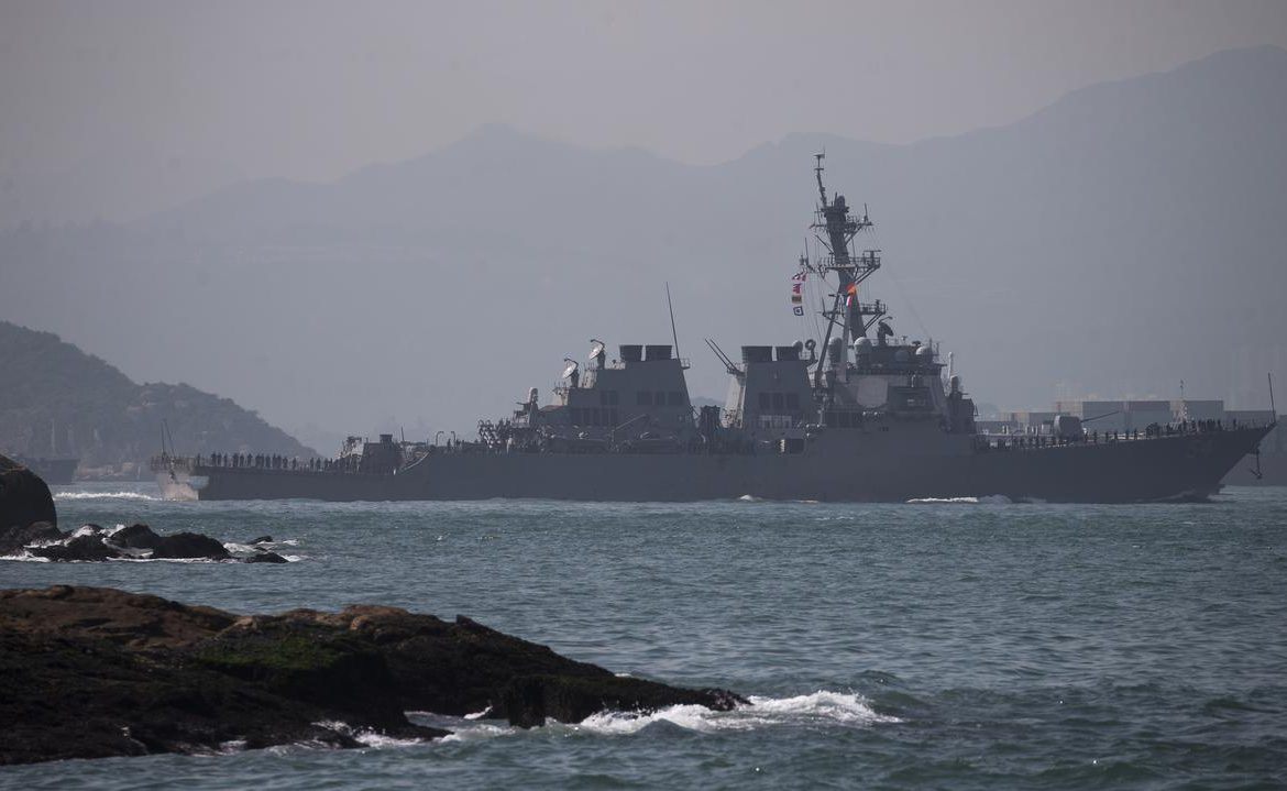 China and the USA.  US destroyer entering disputed waters in the South China Sea?  The Chinese accuse the American fleet of retaliation