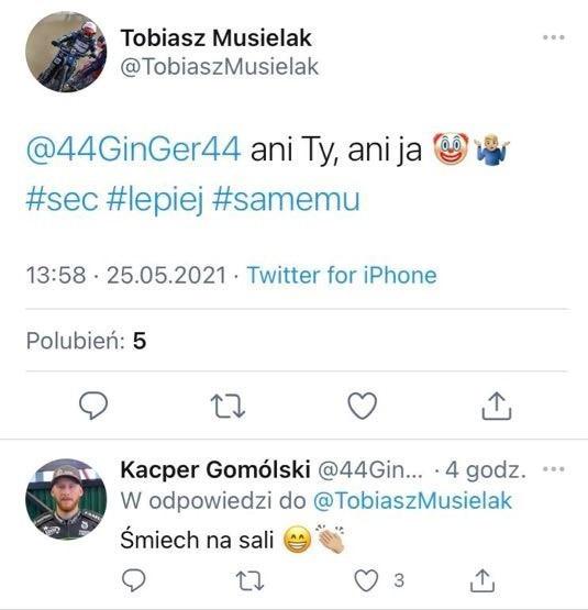 Tobiasz Musielak and Kacper Gomólski commented on the wild cards on SEC on Twitter