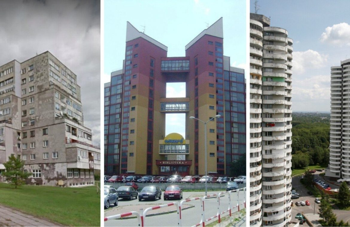 Exotic, unusual, largest - these blocks of apartments from the People's Republic of Poland make a great impression.  They are in Silesia.  look at the pictures