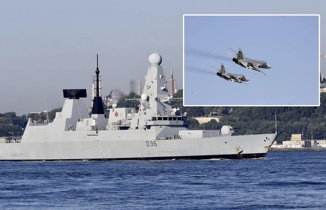 """Russia launched its bombs in front of the British destroyer and brought it down.""""  Britain denies this"""