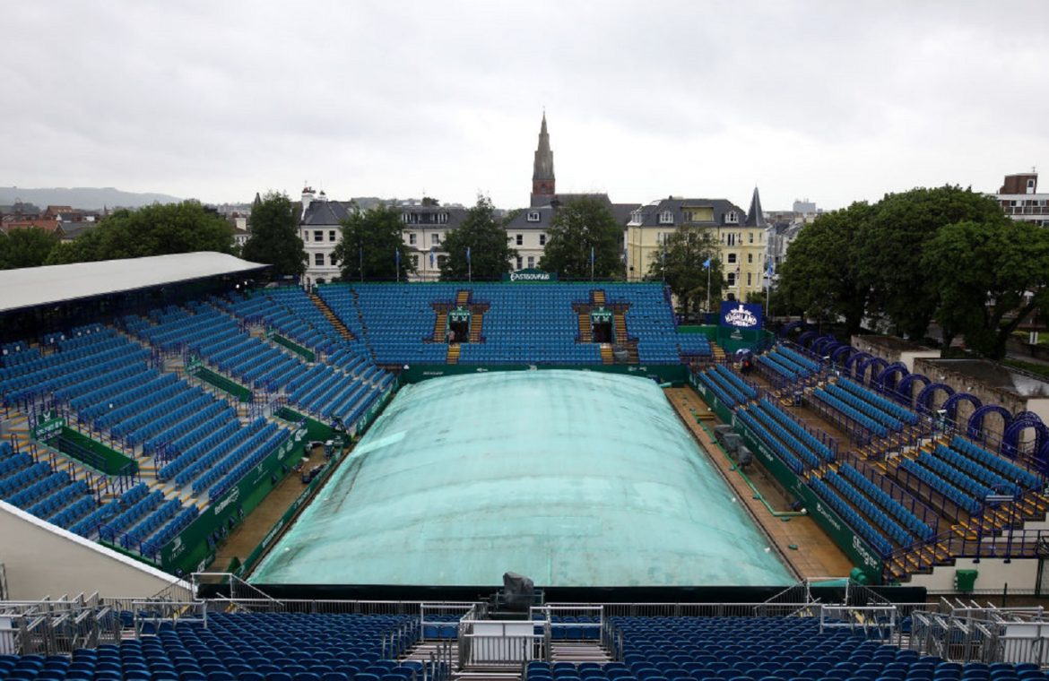 A rainy Monday in Eastbourne.  Tennis players did not go out to the courts