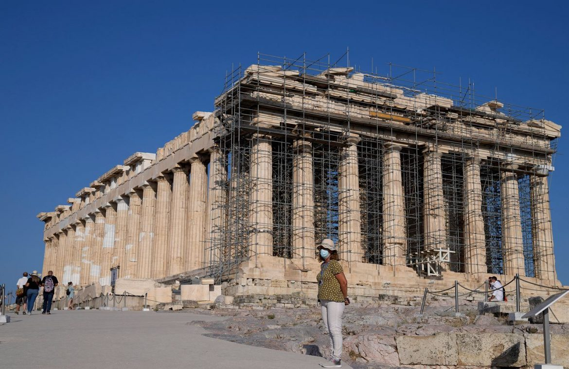 Controversial reconstruction of the Acropolis.  'The symbol of Greece is destroyed'