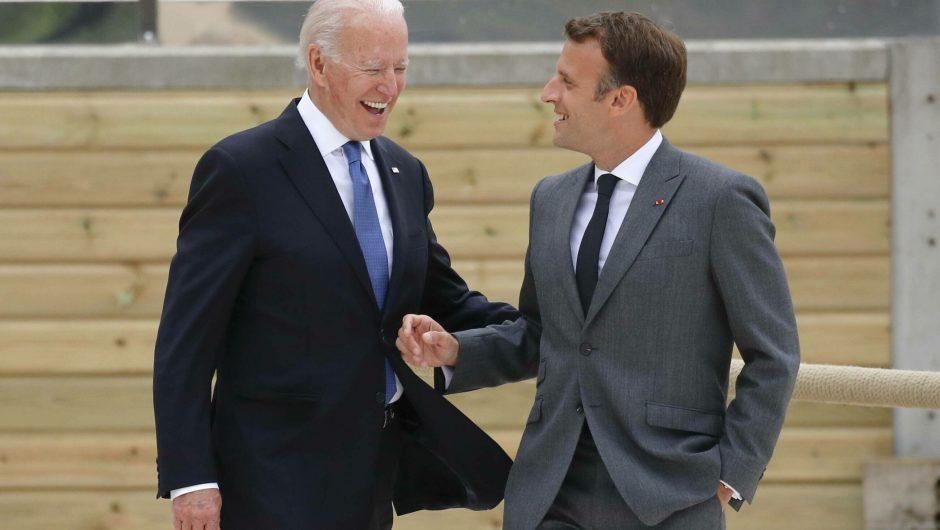 """Macron was talking to Biden.  """"America is back"""""""