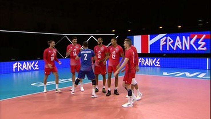 Volleyball players in the League of Nations: America - France.  Live coverage and score